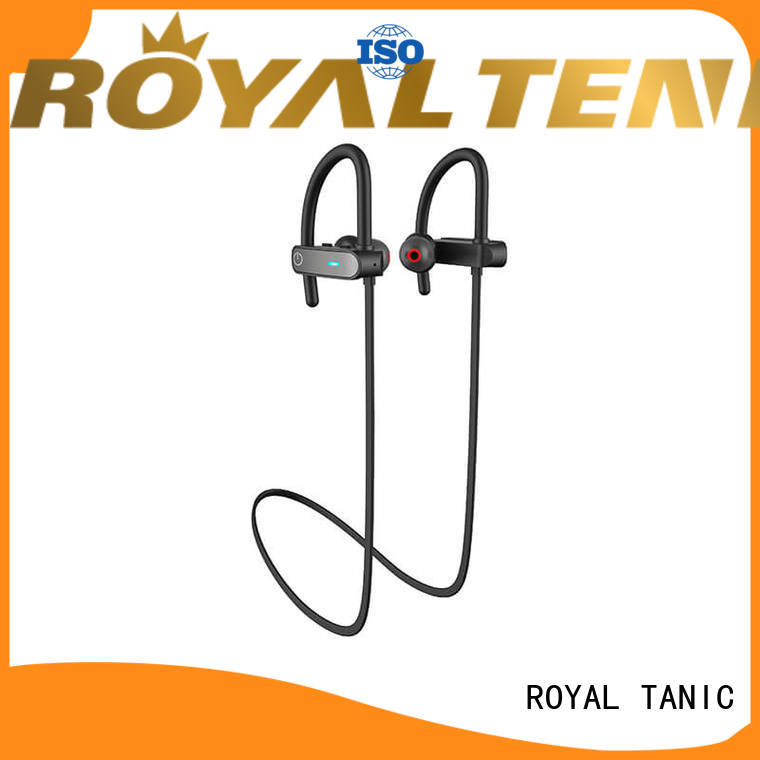 Hot sweatproof sports bluetooth headphones earbuds battery ROYAL TANIC Brand